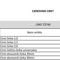 CIRET cjenovnik 2019